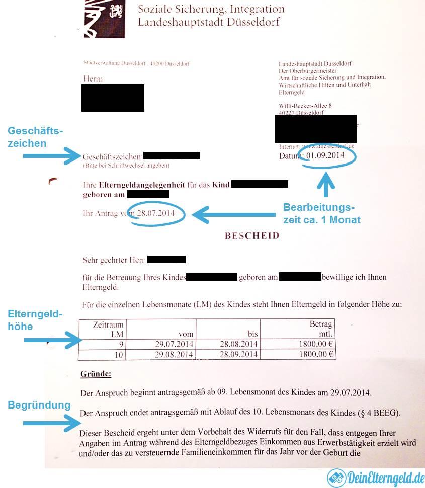 Elterngeldbescheid Seite 1