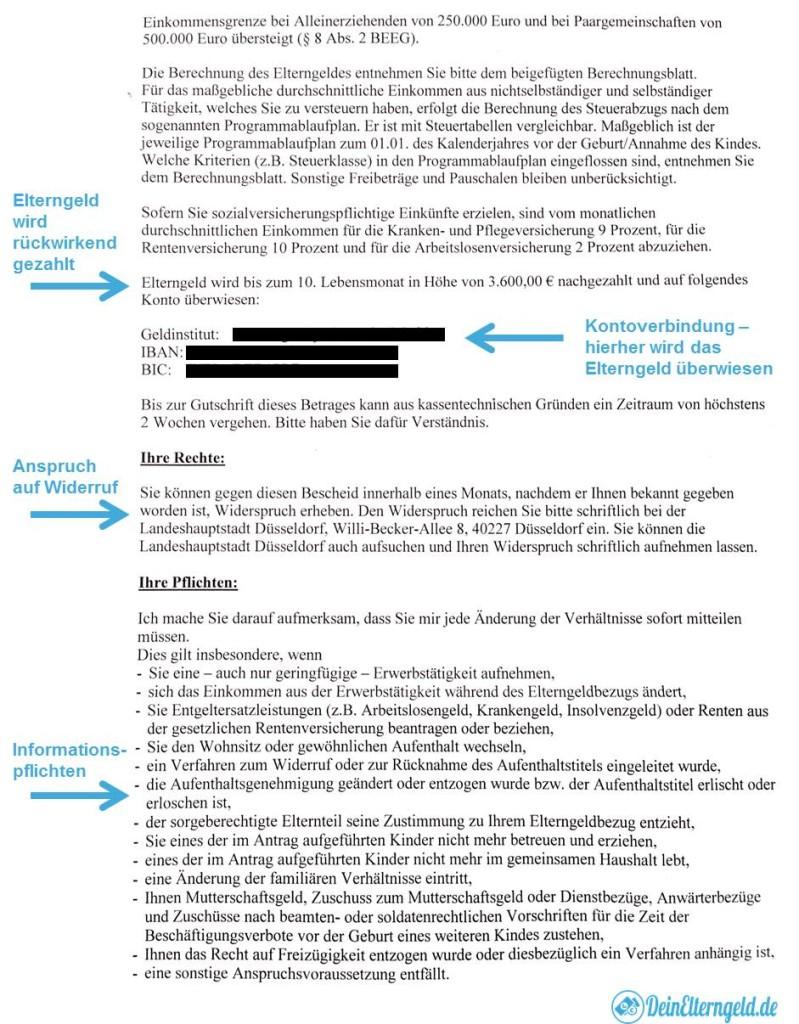 Elterngeldbescheid Seite 2